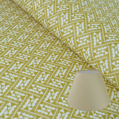 Munro and Kerr yellow printed Esme Winter paper for a tapered empire lampshade