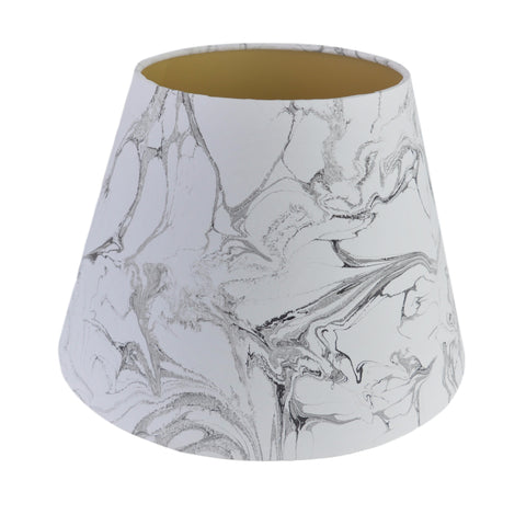 Munro and Kerr balck and white carrara marble lampshade, hand marbled with plain gold lining