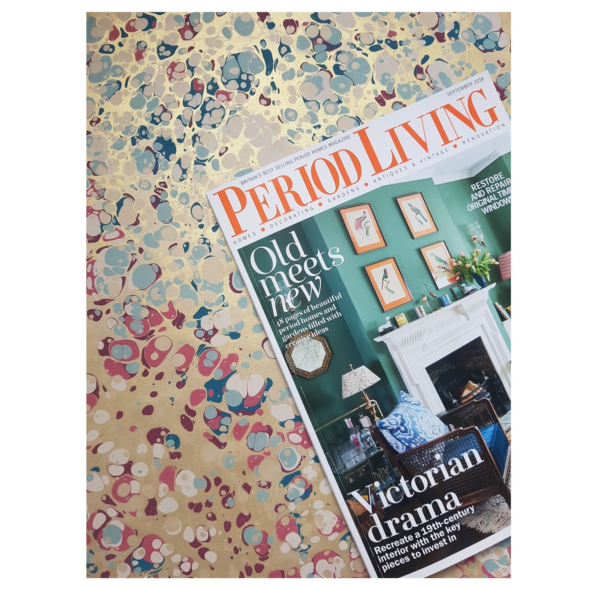 Munro and Kerr metallic marbled lampshade in Rococo London Interiors Period Living magazine