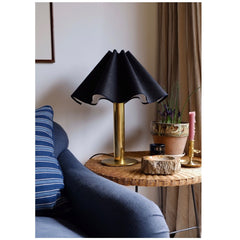 Munro and Kerr collaboration with a Considered Space black silk wavy scallop lampshade with black trim