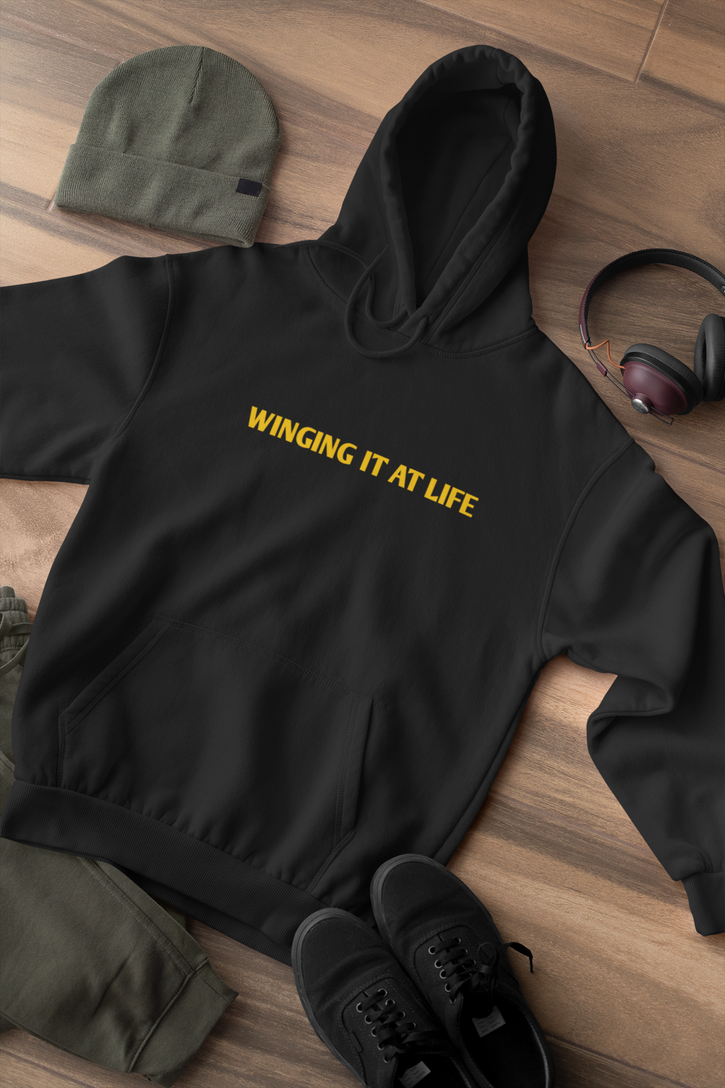 Winging it at life hoodie
