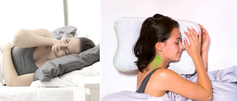 Women sleeping on a regular pillow versus the BLACKROLL Recovery Pillow