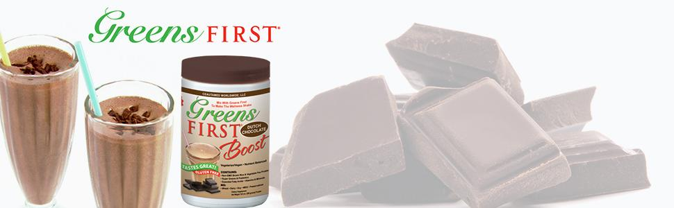 GREENS FIRST First Boost Dutch Chocolate (Gluten Free) Replenish, Revitalize and Recharge | Active Life USA