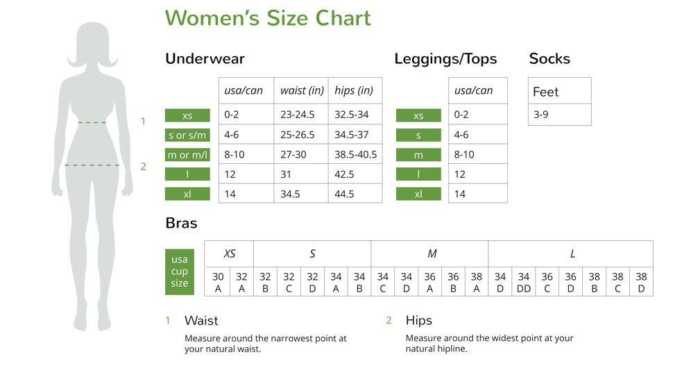 Boody Tank Size Guide (US)