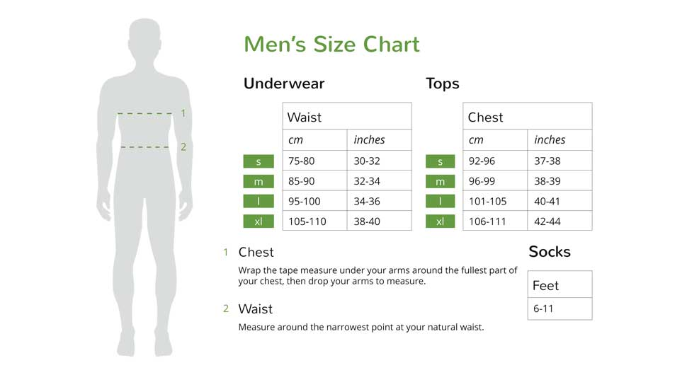 Size Chart - Boody Organic Bamboo EcoWear Boxer for Mens