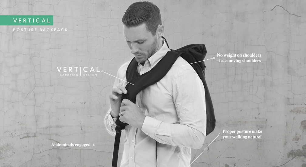 Person - Swedish Posture Vertical Backpack - Active Life USA