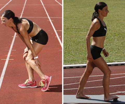 Women on running track with an injured knee on the left hand side, rubbing her knee, and on the right hand side rolling her foot on the BLACKROLL Mini Foam Roller.