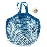 French style string shopping bag petrol blue