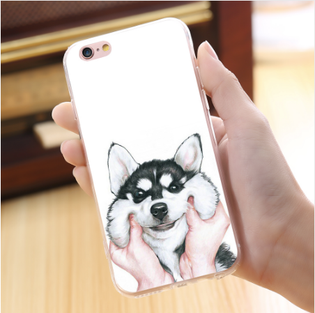Cute Cartoon Husky iPhone and Samsung Dog Phone Cases