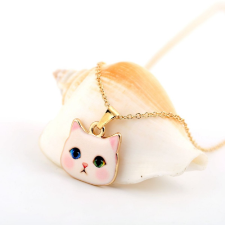 Cute Pink with Red and Green Eyes Hello Kitty Necklace!