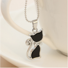Silver Plated Rhinestone Crystal Cute Black Hello Kitty Necklace!