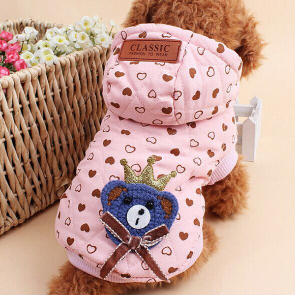 Cute Dog Hoodie with King Bear Design
