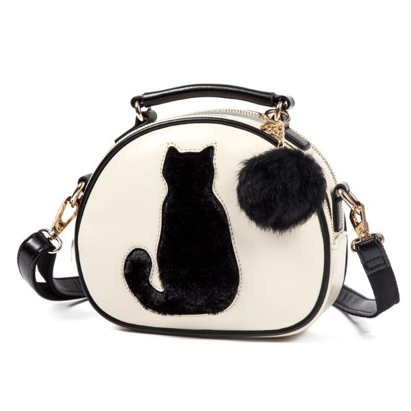 Cute Leather Bag Tail Design Furry Cat Handbag