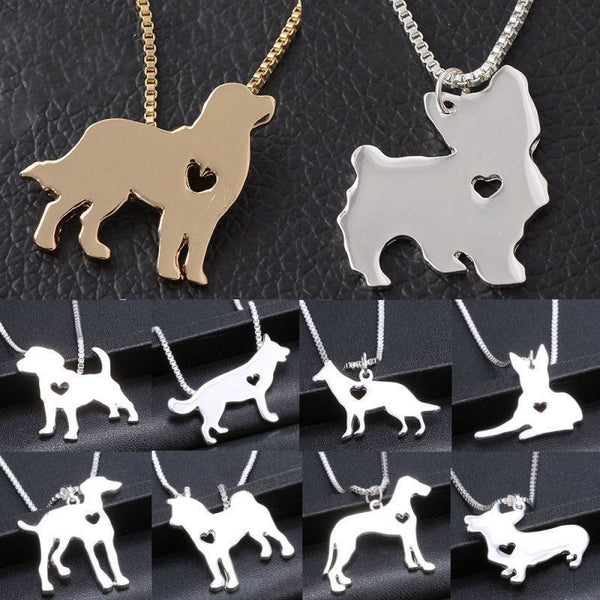 Dog Shaped Necklace With Heart