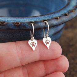 Heart with Christmas Paw Earrings!