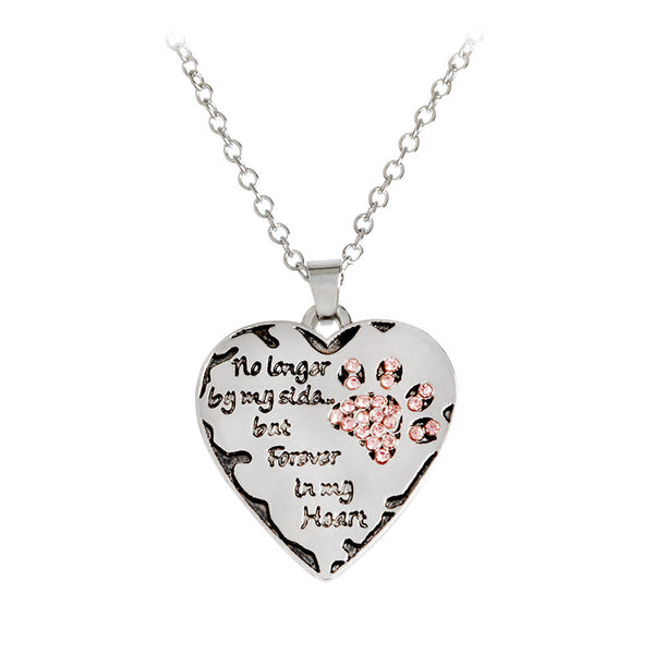 forever in my heart Dog Paw Necklace