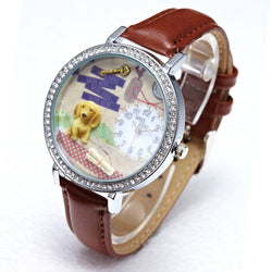 Gorgeous Rhinestone Puppy Dog Wrist Watch