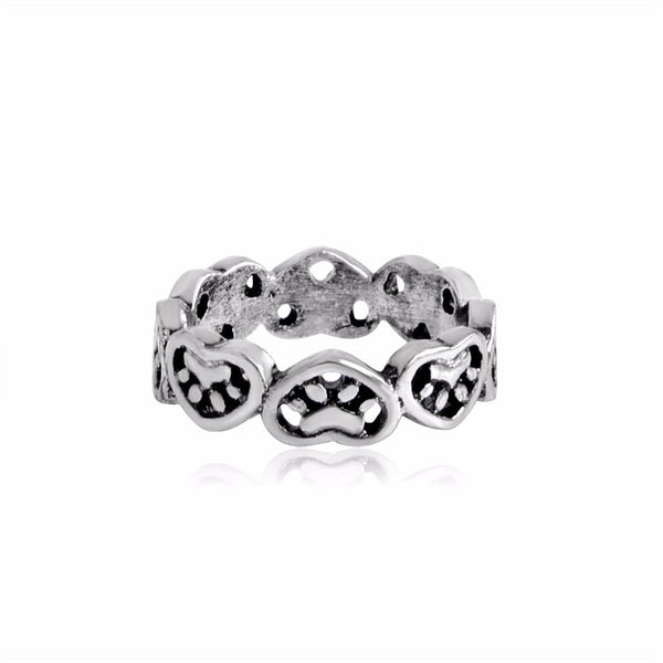 Adorable Heart Stamped Dog Paw Ring