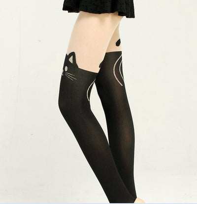 Nylon Cat Head and Tail Cat Tights