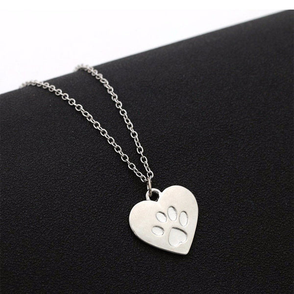 Gorgeous Paw Printed on Heart Dog Paw Necklace