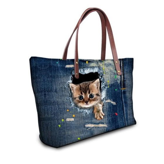 Kitty Jumping out of Denim Cat Print Shoulder Bag