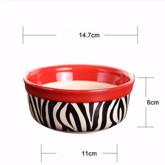 Zebra Patterned Cat Feeding Bowl