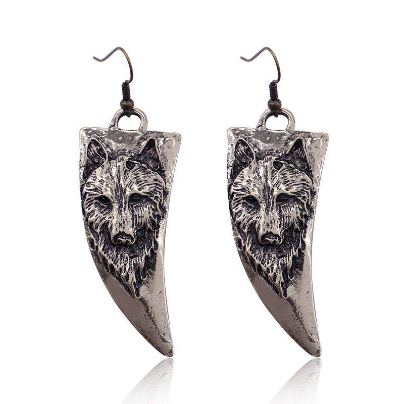 Retro Horn Shaped Wolf Dog Earrings!