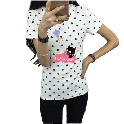 Gorgeous Pattern and Polka Dot Cat Print T Shirt Collection!
