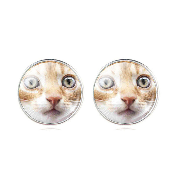 Classic Glass Cat Stud Earrings