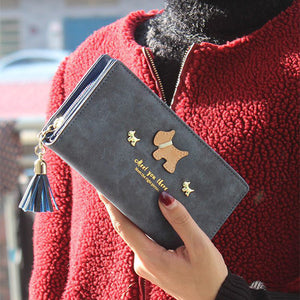 Onyx Design Leather Dog Print Wallet