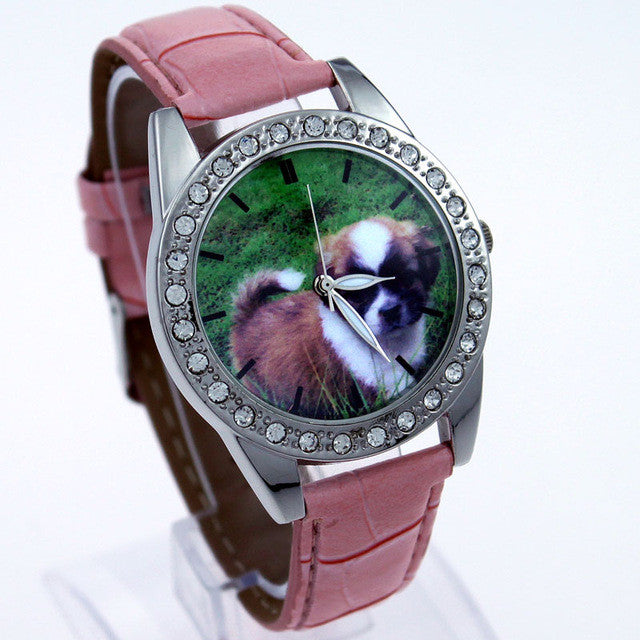 Elegant Ladies Quartz Dog Wrist Watch