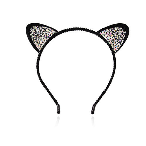 Headband with Dotted Colored Ear Designs Cat Hair Bows