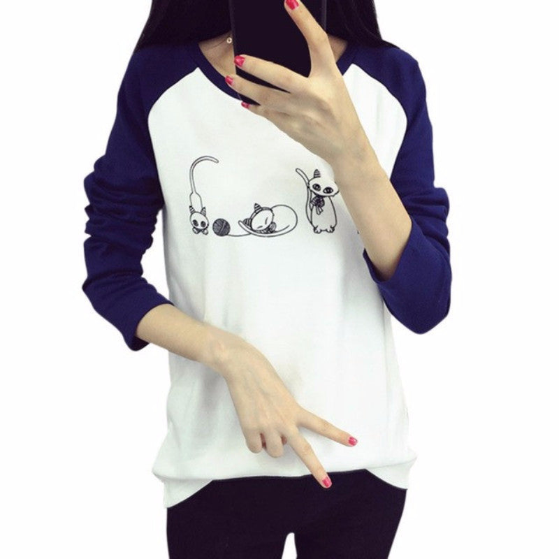 Cute Black and White Cat Print T Shirt Collection!