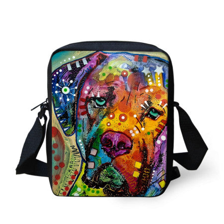 Colorful Printed Dog Shoulder Bag