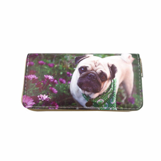 Cute Pug Leather Dog Print Wallet
