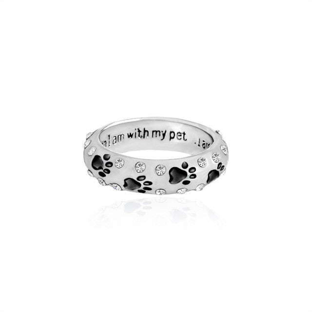 """when I am with my pet"" Dog Paw Ring"