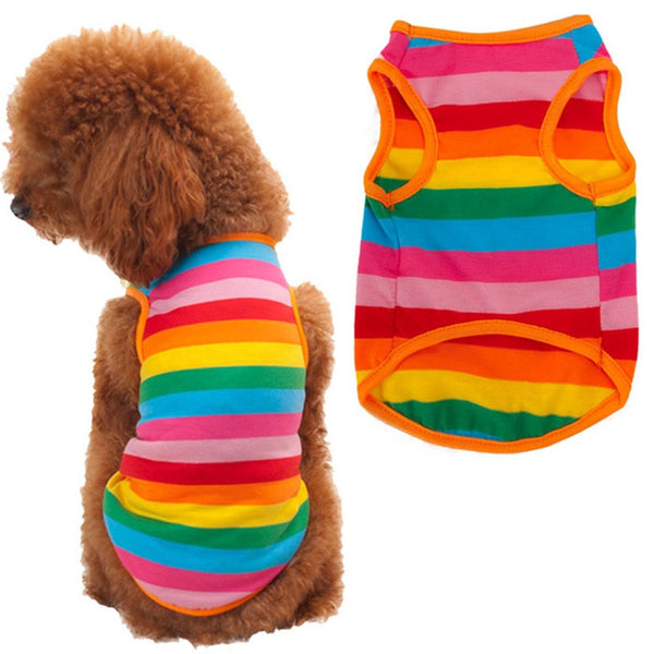 [HOT] Summer Style Rainbow Striped Dog T Shirt