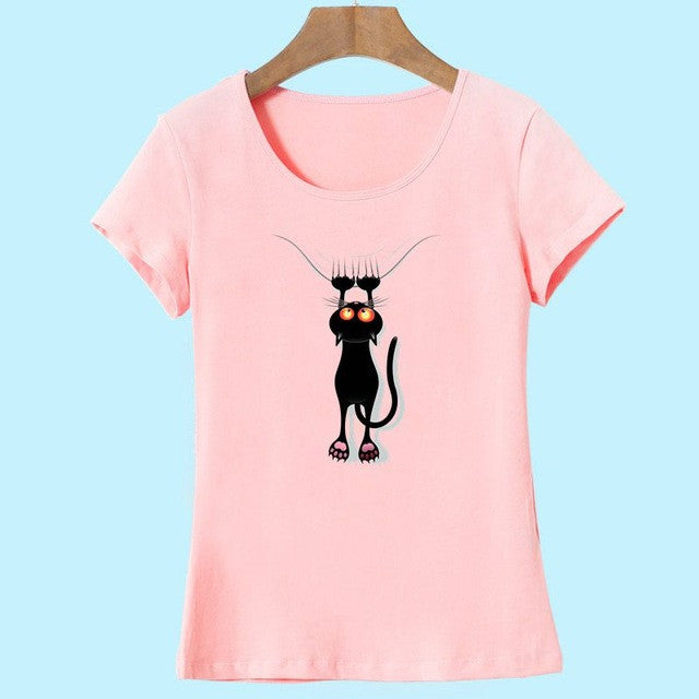 Cute Kitty Hanging from Line Cat Print T Shirt!