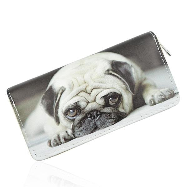 Beige Pug Dog Print Wallet