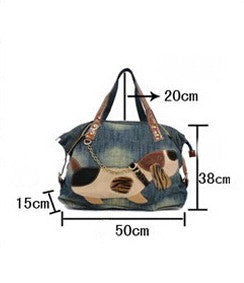 Denim Designed Dog Print Bag