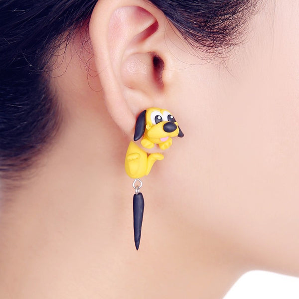 Yellow Doggy Solid Clay Dog Earring!