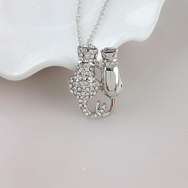 Exclusive Gold Rhinestone Dual Hello Kitty Necklace!