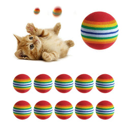 10 Piece Colorful Rainbow Cat Toy Balls!