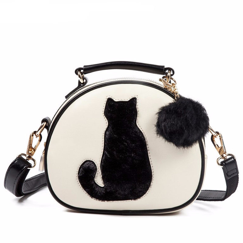 Buy Cute Leather Bag Tail Design Furry Cat Handbag At Lowest Price