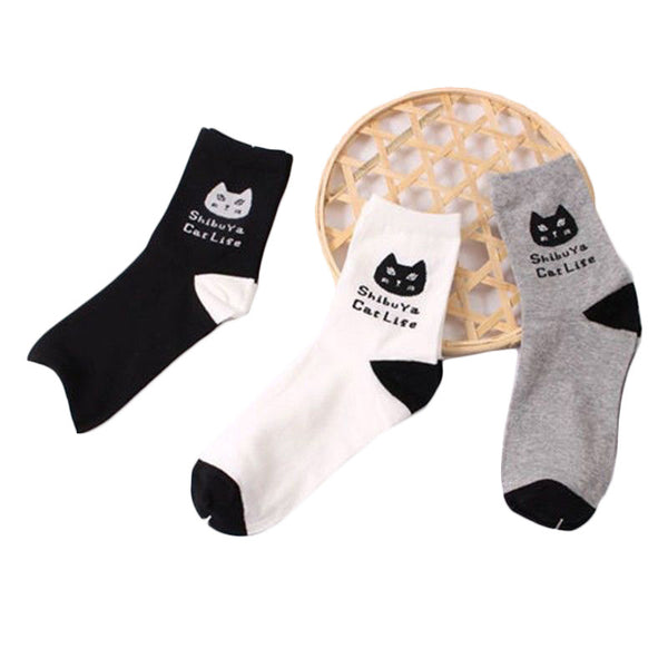 Gorgeous Black and White Kitty Cat Socks!