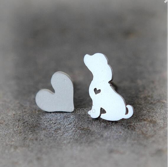 Cute Matching Heart Stud and Puppy Earrings!