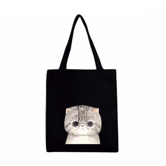Cat Pattern Canvas Cat Handbag