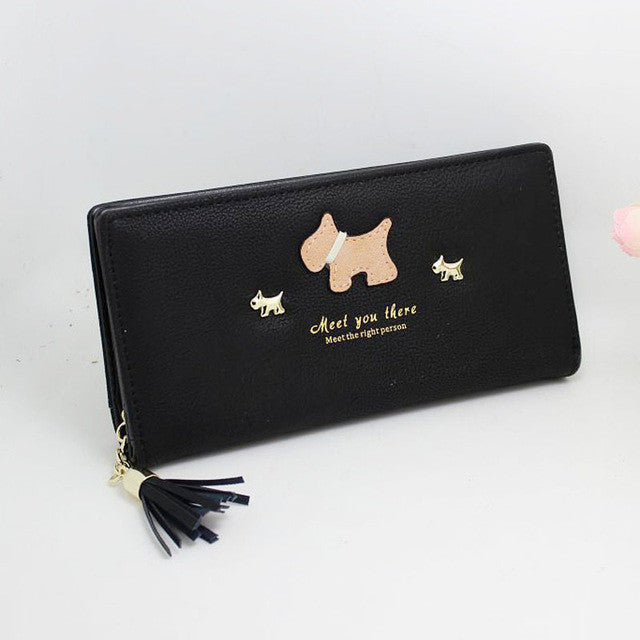 "Cute Tassel Dog ""Meet You There"" Dog Print Wallet"