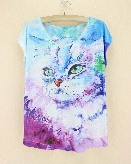 Multiple Cat Print T Shirt