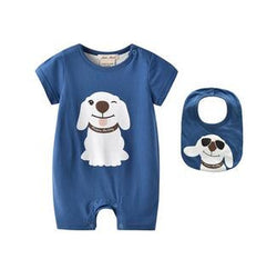 Dog Onesie With Blue Bib